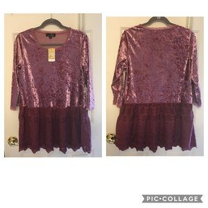 NWT Suzanne Betro medium shirt with lace hem